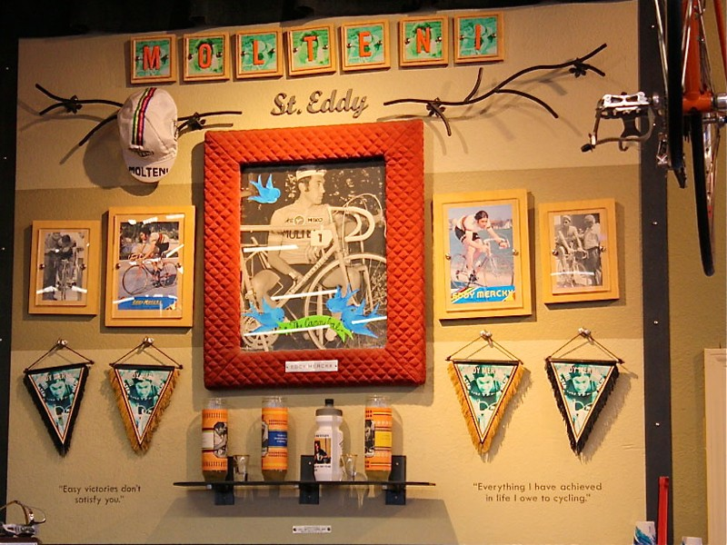 The Eddy Merckx shrine inside River City Bicycles