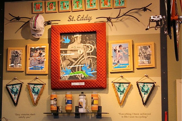 The Eddy Merckx shrine inside River City Bicycles