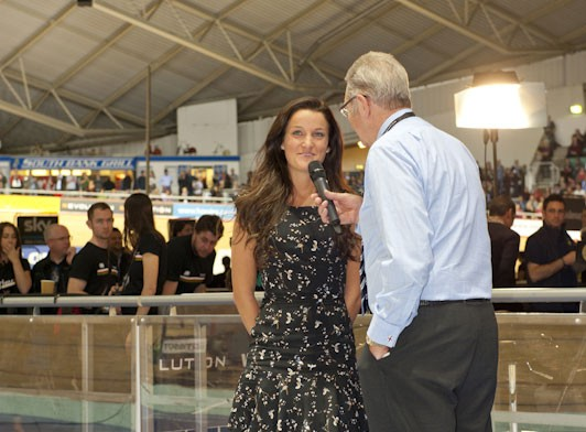 Lizzie Armitstead is interview at the track