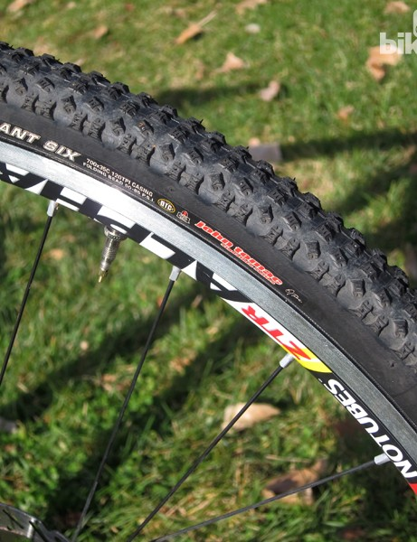 The Kenda Slant Six tires easily seat and seal on the Stan's NoTubes Alpha 340 Disc rims but they have an inordinate amount of rolling resistance