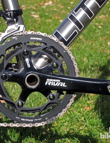 Litespeed sent our CX test bike with a SRAM Rival hollow forged aluminum crankset with 'cross-specific 46/36T chainrings