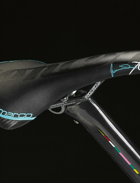 A Selle San Marco Concor carbon FX saddle in custom colors