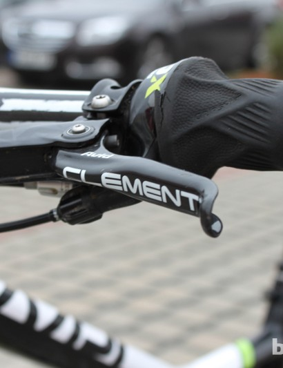 Custom lettering on XO trail brakes' carbon levers
