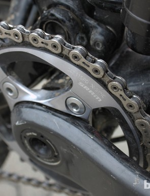 Clementz alternates between the 34-tooth (shown here) and a 36-tooth chainring, depending on the course conditions