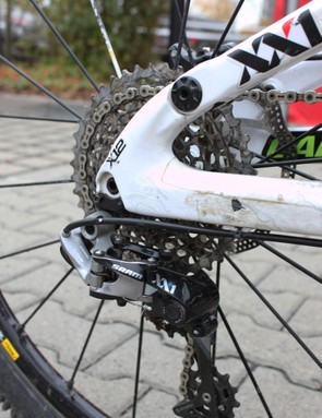 The marks of a long, hard season of riding on the chainstay