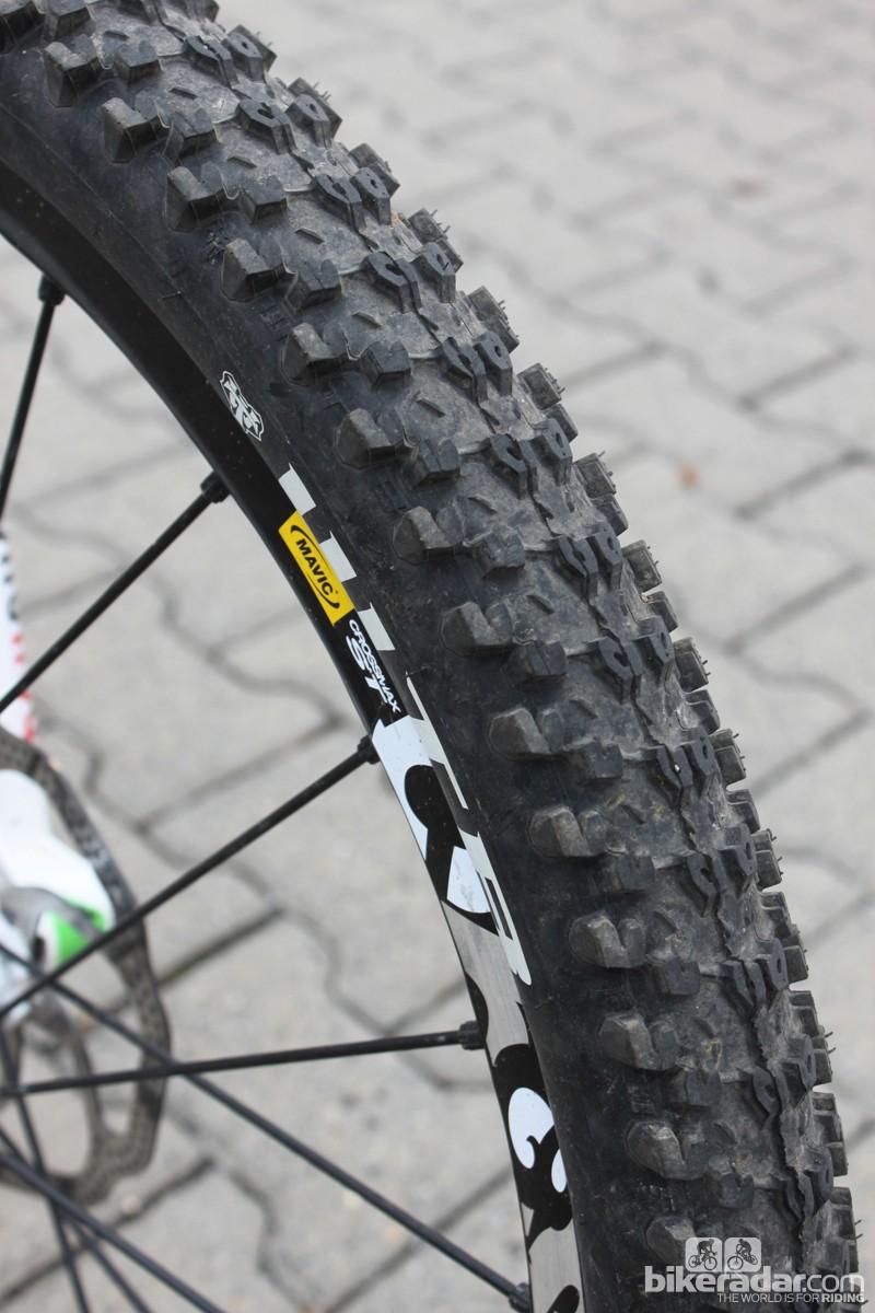 For general trail riding Clementz runs 2.3-inch WTB Bronson tires