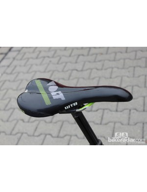 One of the few stock items on Clementz' bike: a WTB Volt saddle