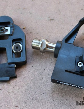 The Keywin Carbon pedals feature a cleat that locks securely to the pedal - and the pedal body floats on the axle