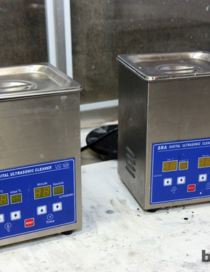 Ultrasonic tanks are used both for removing factory lubricants and anti-corrosion treatments on chains and for infusing the company's 'UltraFast' chains with Friction Facts' special blend of lubricants