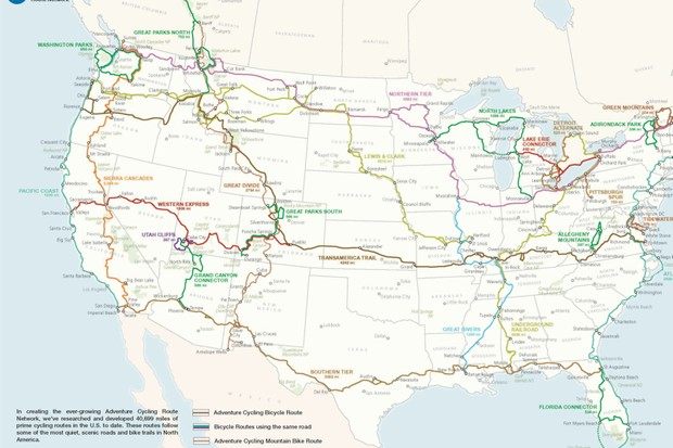 Adventure Cycling's Route Network comprises more than 41,000 miles of bike-friendly routes