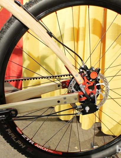 Wood triangle, carbon belt drive, metal disc brake