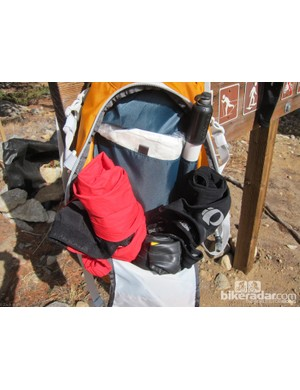 Our Tamarack's main compartment was only about half full with a jacket, leg warmers, a pump, first aid kit, and spare tube