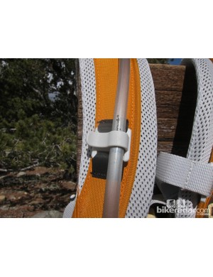 The Tamarack features a tube clip on the right shoulder strap - and only the right shoulder strap