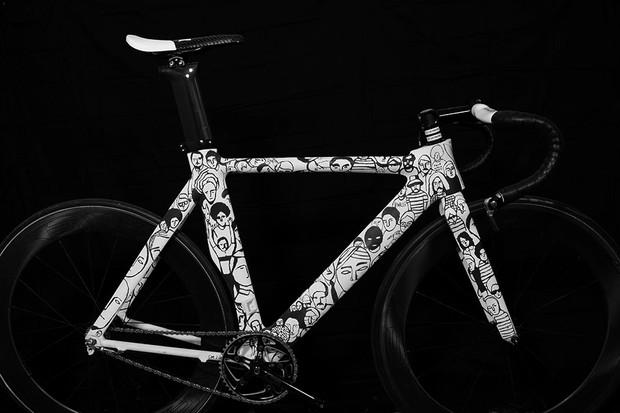 Fairwheel Bikes often works with artists such as Geoff McFetridge, whose work adorns this custom Parlee TT three-speed