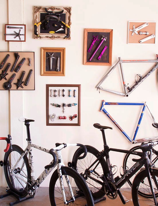 The walls of Fairwheel Bikes' gallery in Portland, Oregon is covered with exotic componentry