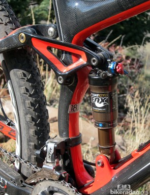The Fox Float CTD Adjust rear shock does an excellent job of absorbing trail chatter, thanks to its light compression tune, while still lending good pedaling manners