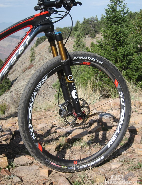 The high-end spec includes Reynolds carbon fiber rims that feel stiffer than aluminum hoops of comparable weight. We just wish some of that rim stiffness wasn't squandered with a low spoke count