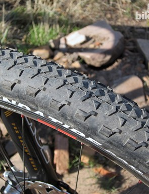 The stock Kenda 24Seven tires are wonderfully fast-rolling and offer surprisingly reasonable grip on hardpack. The rubber compound is very hard, though, making them borderline treacherous when things are wet and/or slippery