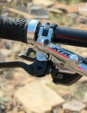 Felt could have saved a few grams by using the Race version of Shimano's XTR brake levers but we appreciated the greater adjustability of the Trail version included here