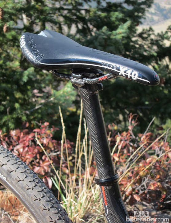 Prologo's comfy Nago Evo X10 saddle is clamped to a two-bolt carbon fiber seatpost
