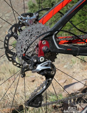 The Shimano XTR rear derailleur is unflappable in its ability to rattle off perfect shifts time and again, although we wished for the quieter-running, clutch-equipped Shadow Plus version when the trail got bumpy