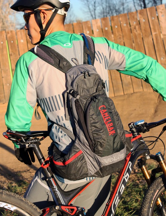 The Camelbak Volt LR is designed to be worn low on your back, with nearly all of the load transferred to your hips. It's very comfortable on the trail and highly resistant to shifting around even on technical terrain