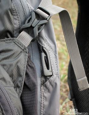 Clips on the sides of the Camelbak Volt LR hook onto your helmet straps for tidy transport
