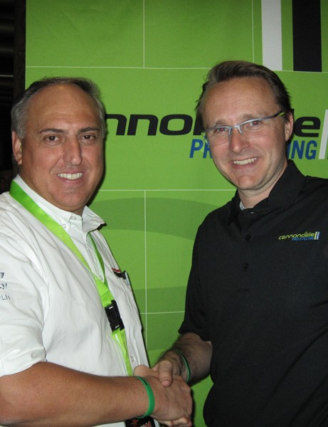 Vision European general manager Claudio Marra (left) and Cannondale sport marketing director Rory Mason (right) will be working much more closely now that the Cannondale Pro Cycling team has switched to Vision wheels for the 2013 season