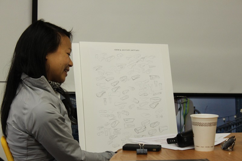 Roxy Lo going over some of the early sketches of the Taz headlight