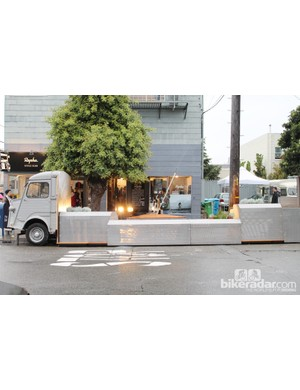 "Grand opening of the new ""bookend"" public parklet in front of Rapha Cycle Club in the Marina District of San Francisco"