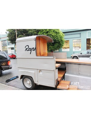 Rapha Cycle Club and design studio Rebar took apart a historic Rapha Citroen H-Van from southern France and designed it into a parklet