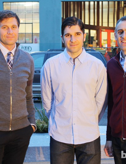 (l to r) Rapha's Derek Lewis, store manager Dante Campanile, and Chris DiStefano