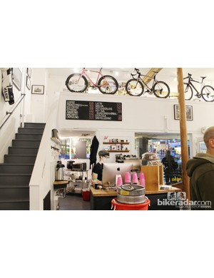Coffee shop and art gallery upstairs in the Rapha Cycle Club store