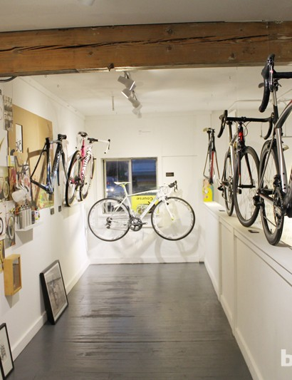 Garrett Chow installation, showing bikes and art