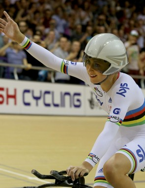 Great Britain's Laura Trott celebrates her overall title in the women's omnium at the Sir Chris Hoy Velodrome