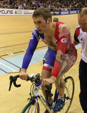 Team GB star Jason Kenny after his crash in the men's keirin