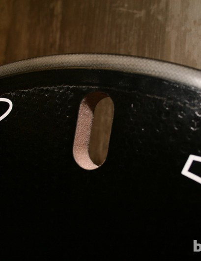Aerodynamic Boundary Layer Control dimples on the surface of the Super-9 clincher disc