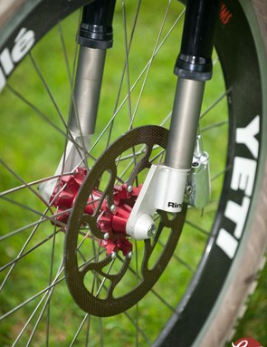Attempts to use carbon rotors on mountain bikes are nothing new, as demonstrated by this mid '90s Yeti ARC AS/Lt