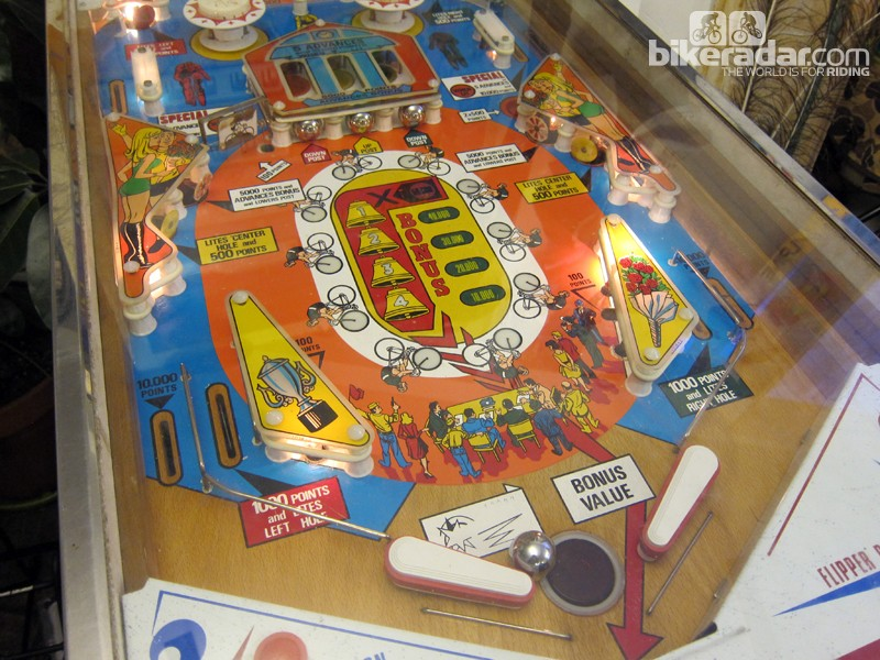 Among the Golden Saddle Cyclery's most prized possessions is a vintage Criterium 75 pinball machine that actually works - most of the time