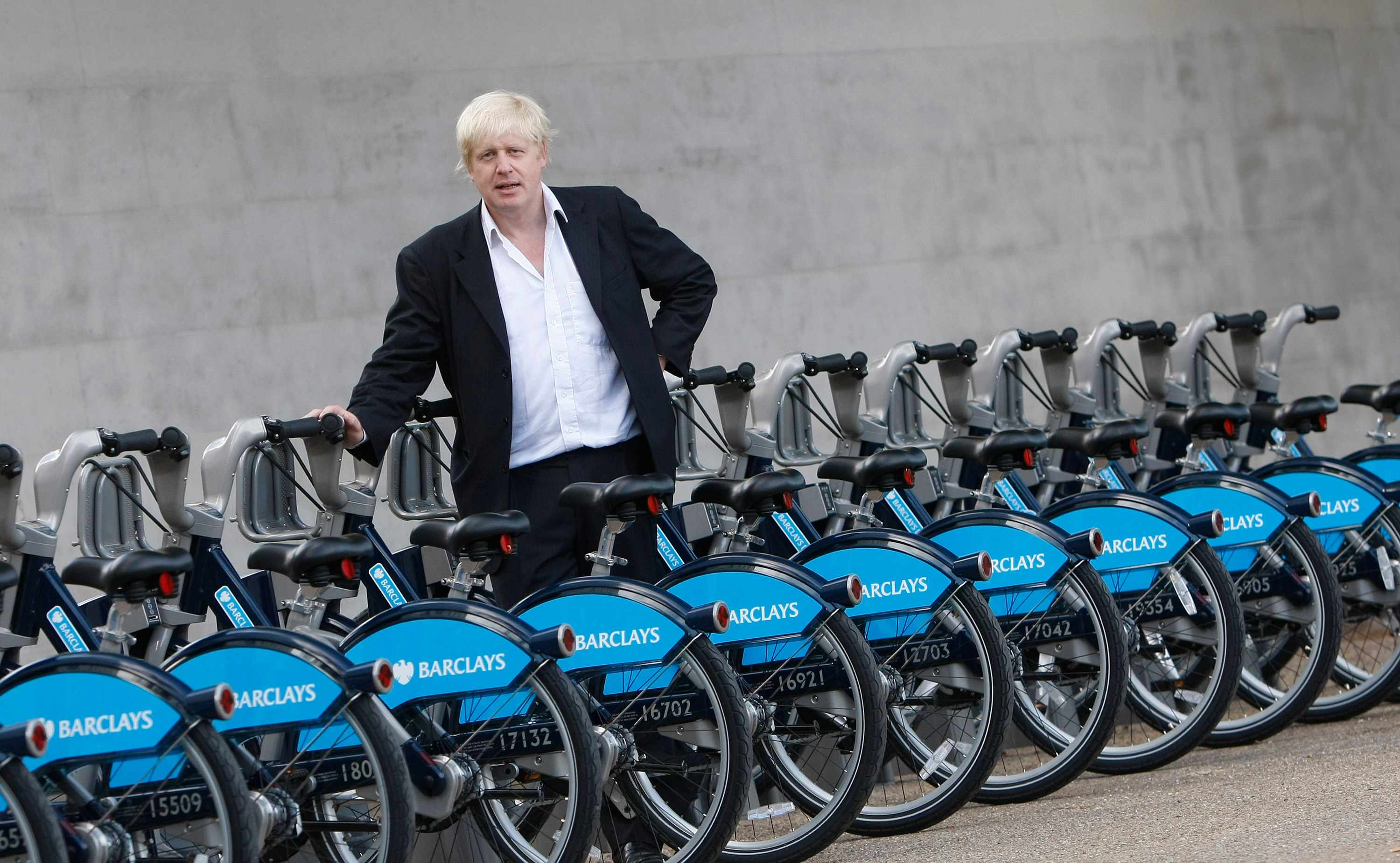Mayor of London Boris Johnson with bikes from the Barclays Cycle Hire scheme