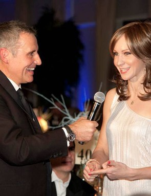 Action Medical Research cycling ambassador Joanna Rowsell being interviewed by Dermot Murnaghan at the Champions of CycleSport Dinner