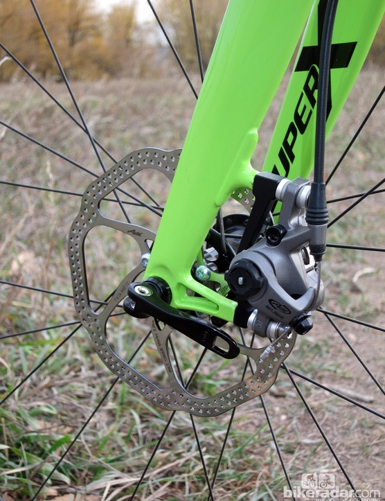Cannondale ships the SuperX Hi-Mod Disc with a 160mm front rotor but the fork can accept a smaller 140mm disc