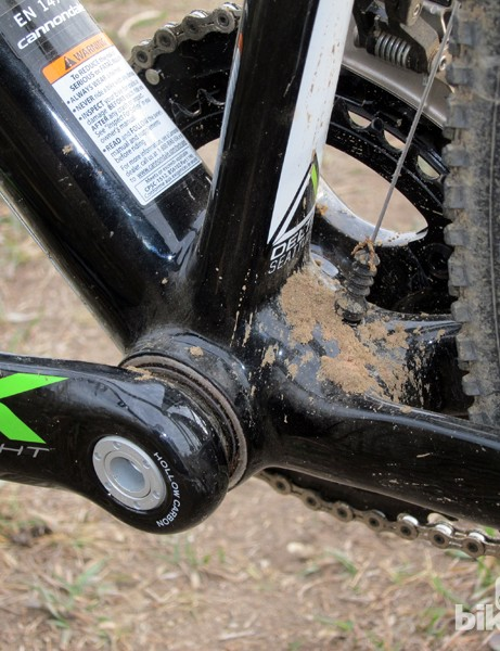 We'd rather not see large, nominally flat surfaces like this behind the bottom bracket on 'cross bikes, as it provides a perfect place for mud to accumulate