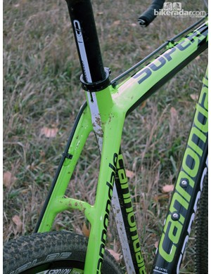 The seat stays are spaced very wide at the seat cluster. According to Cannondale, this was done primarily to allow the use of continuous carbon fibers in the area, for better strength