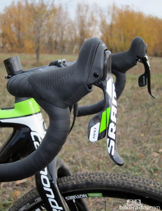 SRAM's latest Red DoubleTap levers are ideal for 'cross, with their very positive shift action and grippy, textured hoods