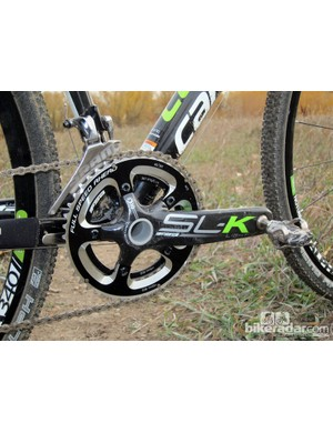 FSA SL-K BB30 carbon fiber cranks feature 'cross-specific 46/36T chainrings and graphics to match the Cannondale SuperX Hi-Mod's bright green finish