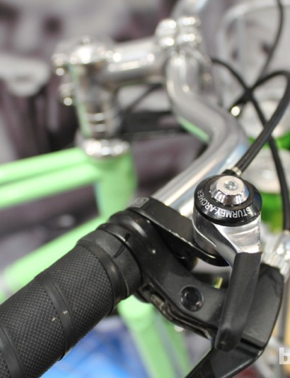 Thumb shifters and an internal Sturmey Archer hub keep things clean