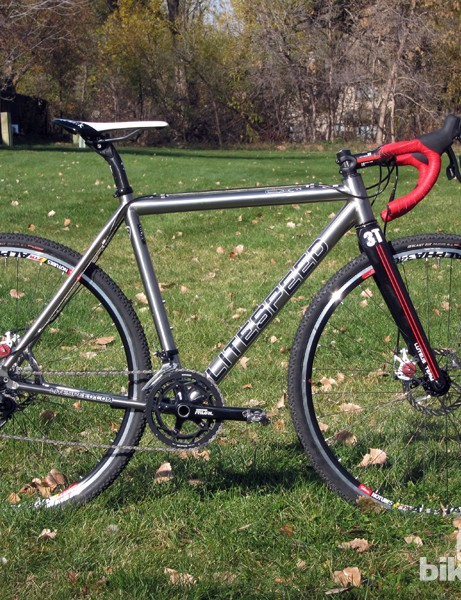 The Litespeed CX's brushed titanium finish glimmers in the afternoon sunlight. Given what this bike is likely to see in competition, the bare surface will undoubtedly hold up better over the long term than conventional paint