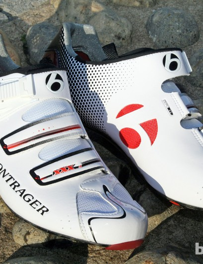 Two velcro straps and a ratchet buckle secure the Bontrager RXXXL shoes