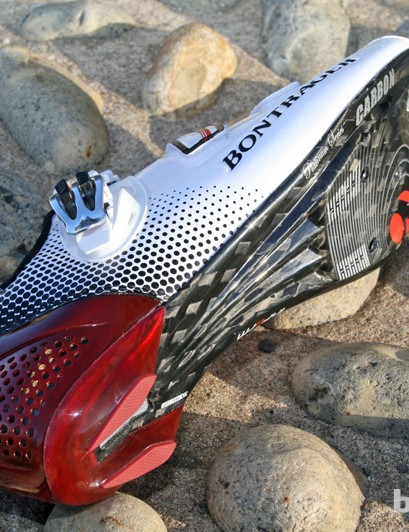 Carbon fibre soles on the Bontrager RXXXL shoes, as you'd expect for the price